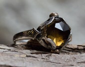 Smoky quartz Ring, unique engagement ring, silver gold ring, boho ring, multistone ring, gypsy ring, boho ring - Hold my hand - R2162
