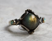 Silver gold Labradorite Ring, bohemian gypsy ring - Peace On Earth - R2216