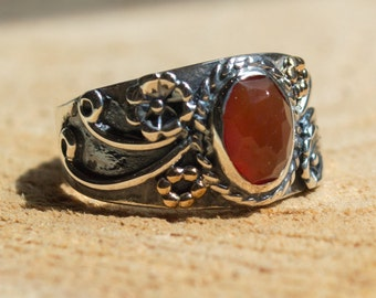 Carnelian ring, Tibetan ring, stone ring, boho ring, hipster ring, Silver Ring, gypsy ring, twotone ring, wide ring - Three Sunrises - R2223