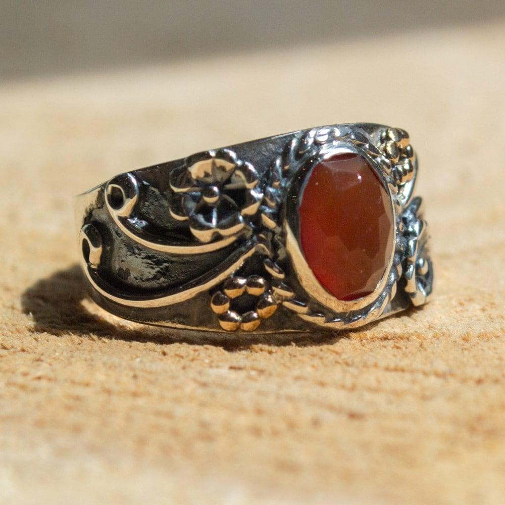 Carnelian ring Tibetan ring stone ring boho ring hipster ...