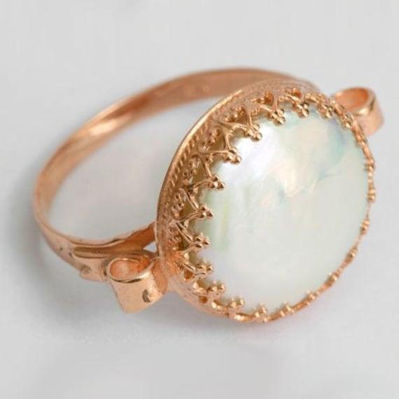 gran descuento 5afe2 34305 Rose Gold Anillo compromiso, oro anillo de perla, 14 anillo de oro de k  color de rosa, anillo corona de oro, anillo de compromiso único, anillo de  la ...