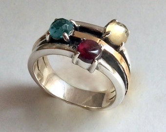 Mothers day ring, birthstones ring, silver gold ring, gift for mom, boho ring, personalised ring, two tone ring - What makes you happy R2214