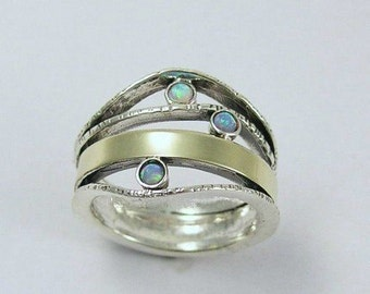 Mother's band, family ring, opals ring, multistones ring, Boho chic Ring, silver gold ring, twotone ring - What makes you smile 2 - R1237-1