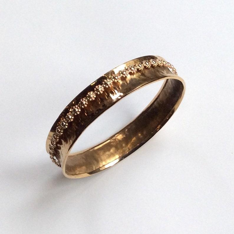 meditation bracelet simple hammered bangle My treasure B3004 Hammered brass bangle statement bangle floral gold filled spinner bangle