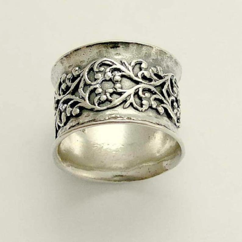 sterling silver ring Wide band oxidized band wedding band Misty Silver Lace Band Wide band filigree ring R1146ZS oxidised ring