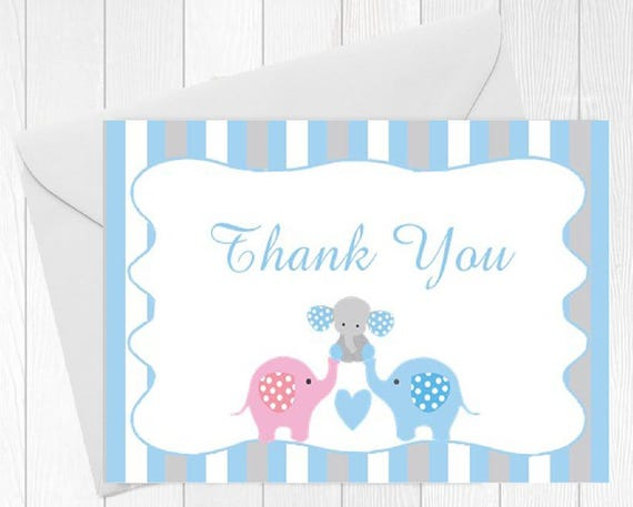 Baby Shower Thank You Card Elephant Baby Boy 10 Printed Cards