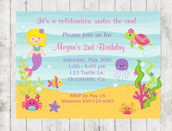 Birthday Invitation Under The Sea Party Mermaid 10 PRINTED Invitations FREE Shipping