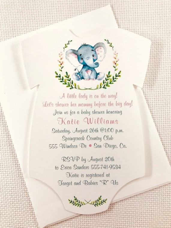 398d88819 Baby Shower Invitation / ONESIE /Pink Elephant / Baby Girl / Set of 10 /  All Occasion Favors