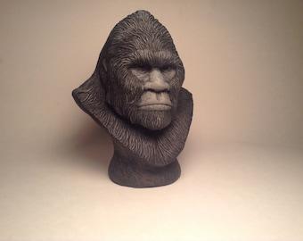 Bigfoot Sasquatch Sculpture bust realistic black