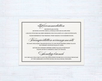 Printed Information Card – Classique
