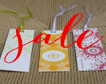 letterpress christmas tags (long) - mixed pack of 36 - end of line clearance