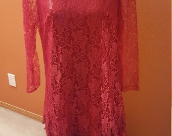 Vintage Raspberry Tiered Lace Dress by Mister Jay