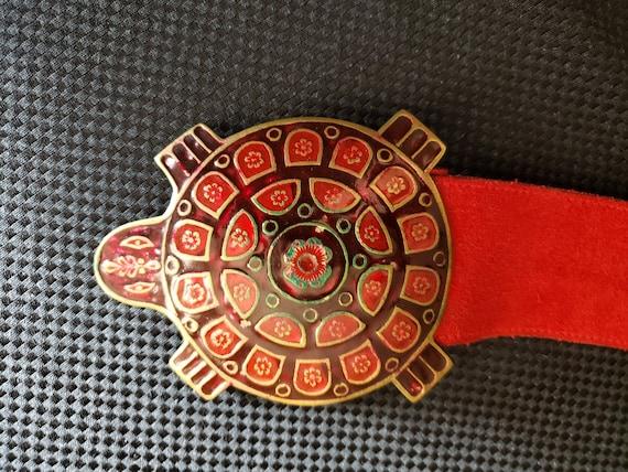 Vintage Red Enamel Turtle Belt - Golden Hands by L