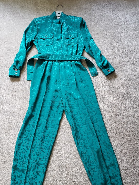 Amazing Vintage Green Jumpsuit by Caron Petite