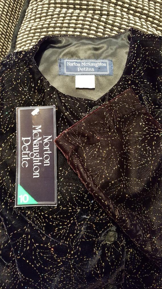 70s Vintage Vest Gold Black Velvet by Norton McNaughton Petites Size Small