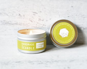Lemongrass Lavender Aromatherapy Spa Natural Soy Candle in 4 Oz Silver Travel Tin