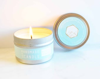 Eucalyptus Peppermint Aromatherapy Soy Candle in 4 Oz. Travel Tin Silver