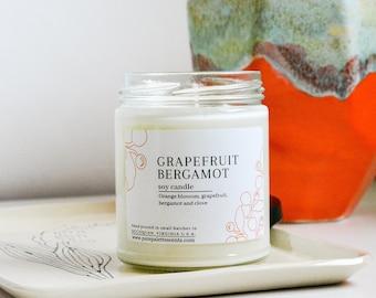 Grapefruit Bergamot Soy Candle with Essential Oil Natural Fragrance Black Metal Lid