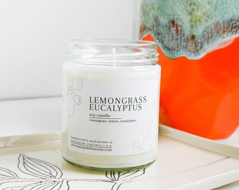 Lemongrass Eucalyptus Soy Candle with Essential Oil Natural Fragrance Black Metal Lid