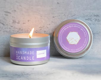 Lavender Aromatherapy Soy Candle Natural Essential Oil 4 oz. Silver Travel Tin