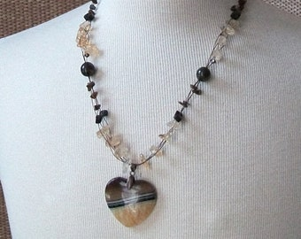 Brown and Black and Yellow Striped Agate Heart Necklace-Tiger Bee-Multi Strand with Citrine, Tiger Iron, Tiger's Eye on Copper
