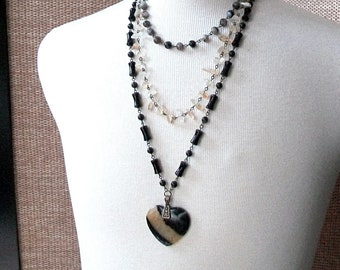 Black and Yellow Agate Heart Layered Necklace-Boho Bee-Citrine, Striped Black Agate, Multi Strand on Brass Necklace