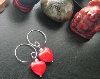 Red Valentines Heart Earrings -Red Howlite with Clear Crystal on Silver Heart Earwires