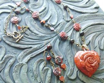 Poppy Jasper Heart Gemstone Necklace and Earrings Set -Rose Garden- Burnt Orange, Earthy, Dark Brown on Gold