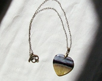Yellow Banded Agate Heart Necklace-Striped Bee-Yellow, White, Black, Brass Mid Length Necklace