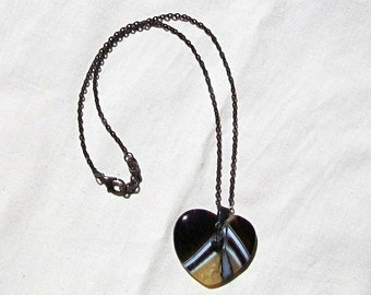 Black and Yellow Striped Agate Heart Choker-Bees Wings-Blackened Brass, Black, White, Yellow, Crystal