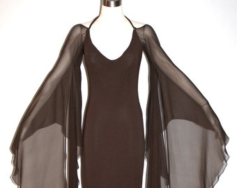 HALSTON Vintage Gown Brown Backless Halter Angel Sleeve Maxi Dress - AUTHENTIC -