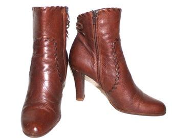 Bottes en cuir Vintage CHRISTIAN DIOR bottines cheville marron 39 -  authentique - dcfcdf06560