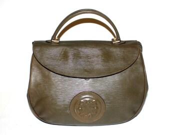 a7b2a68ca6 Vintage FENDI Tote Green Epi Leather Janus Medallion Handbag - AUTHENTIC -