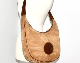 ef54cd0e3c FENDI Vintage Oversized Handbag Ribbed Suede Brown Leather Janus Medallion  Hobo Tote - AUTHENTIC -