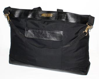 0f68a8eb9bea9 VINTAGE MOSCHINO REDWALL Travel Tote Black Leather Nylon Large Tote  -Authentic -