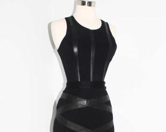 Vintage MASSCONI and MALBRUNOT Ensemble Black Body Suit Skirt Dress