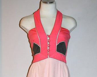 PAGANNE Vintage Gown Color Block Art Nouveau Halter Maxi Dress - AUTHENTIC -