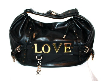 911c21db55 DOLCE   GABBANA Vintage Handbag Love Sex Large Leather Iconic Hobo -  AUTHENTIC -