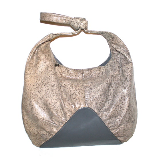 HALSTON Vintage Leather Handbag Hobo Shagreen Gre… - image 2