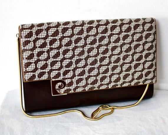 37f3dc747ea PIERRE CARDIN Vintage Handbag Clutch Chain Strap MOD Brown and   Etsy