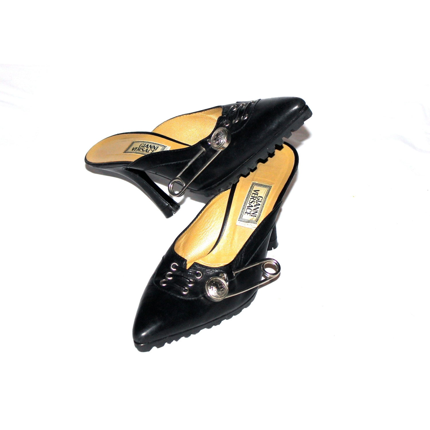 Vintage Gianni Versace Safety Pin Sunglasses Mod 427 Col 279: GIANNI VERSACE Vintage Leather Medusa Safety Pin Shoes