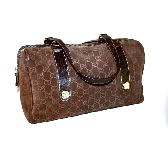 0f54047ed68 GUCCI Vintage Speedy Handbag Brown Monogram Suede and Leather