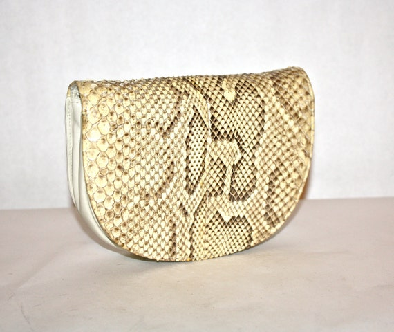 c4509b9799 HALSTON Vintage Clutch Handbag Convertible Natural Snakeskin