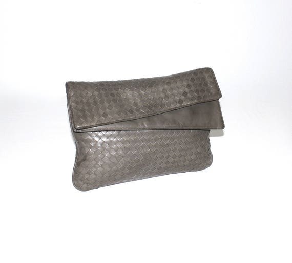 33868a14b2 Huge Vintage BOTTEGA VENETA Leather Clutch Intrecciato Gray
