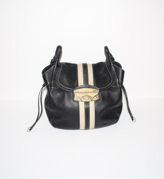 66bc1933b2 Vintage PRADA Nappa Leather Stripe Black Lizard Clasp