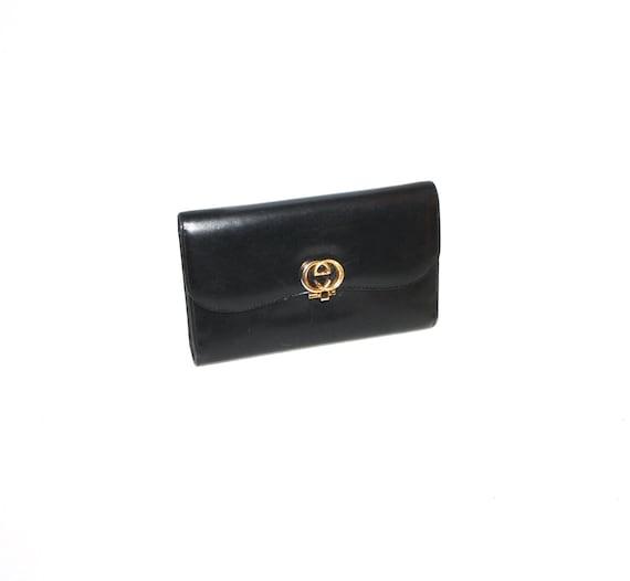 271c2e801adb GUCCI Vintage Wallet Black Leather Tri-Fold Clutch Coin Purse | Etsy