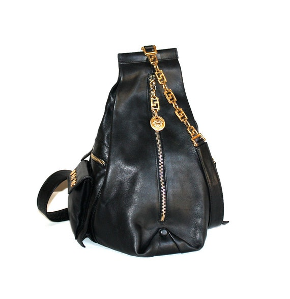 GIANNI VERSACE COUTURE Vintage Backpack Tote Black Leather  a043395231a35