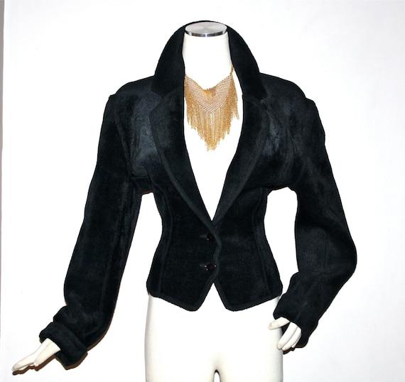 Vintage AZZEDINE ALAIA Chenille Jacket Black Velv… - image 2