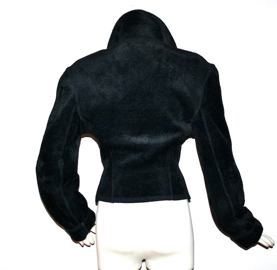 Vintage AZZEDINE ALAIA Chenille Jacket Black Velv… - image 3