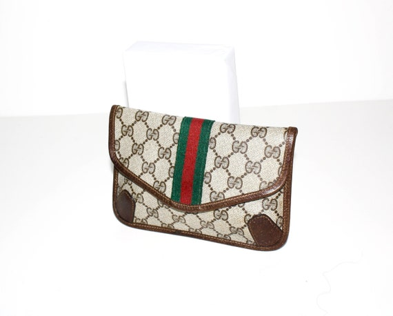 a1b98c14788 Vintage Early GUCCI Clutch Brown Coated Canvas Leather Web